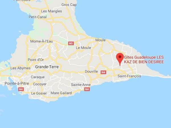 GoogleMaps Kaz de Bien Désirée - Guadeloupe